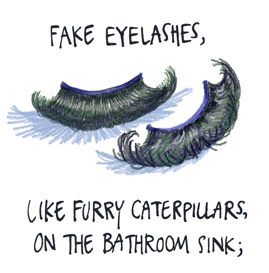 fake eyelashes, like furry caterpillars on the bathroom sink