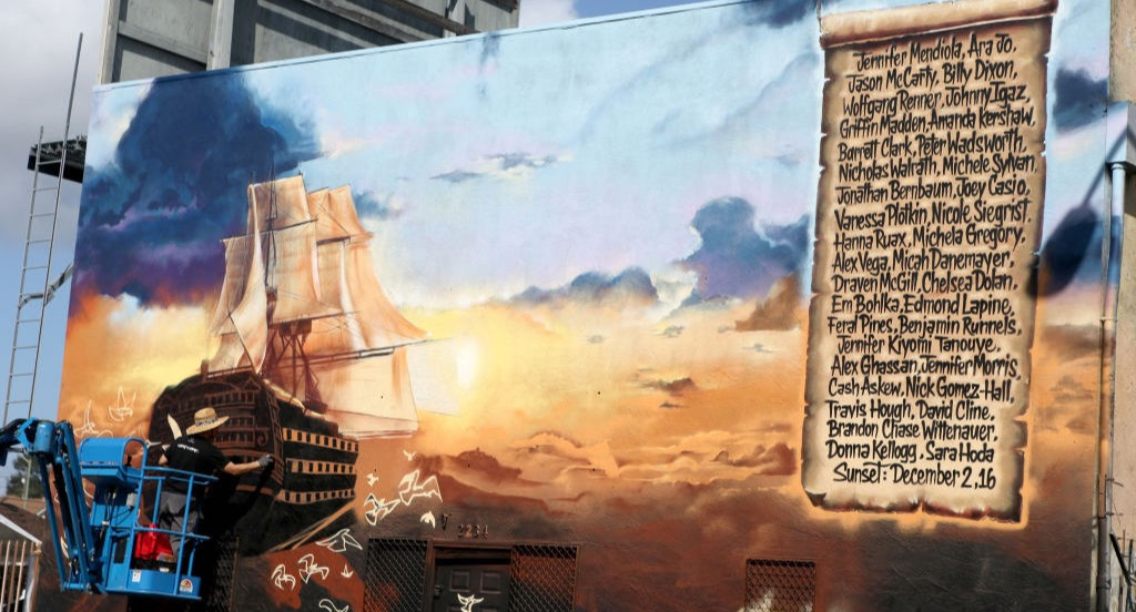 Ghost Ship warehouse fire memorial mural