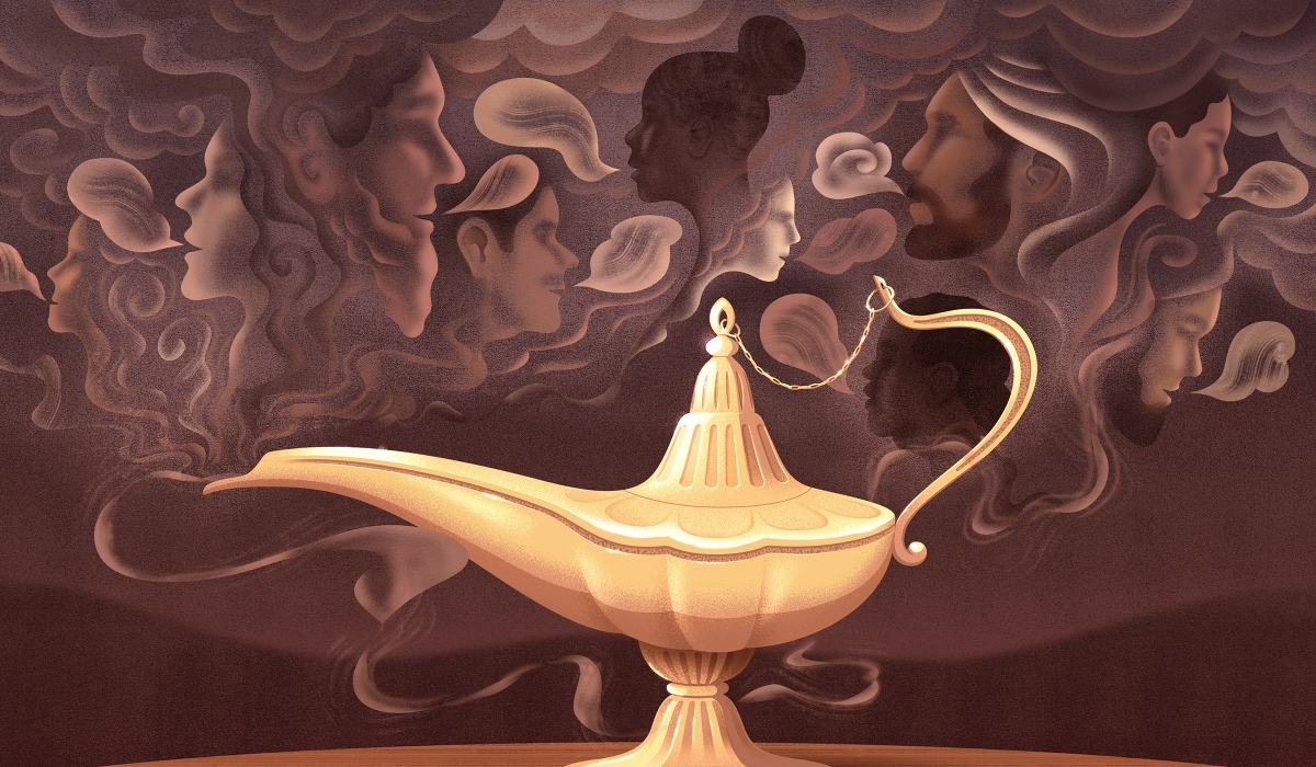 aladdin's magic lamp with human figures sharing stories in the background